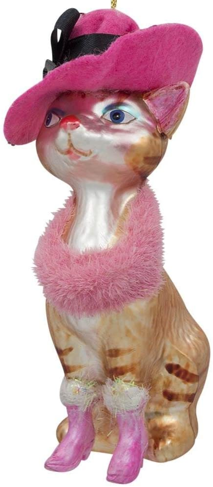 BestPysanky Lady Cat with Pink Hat Glass Christmas Ornament 5 Inches