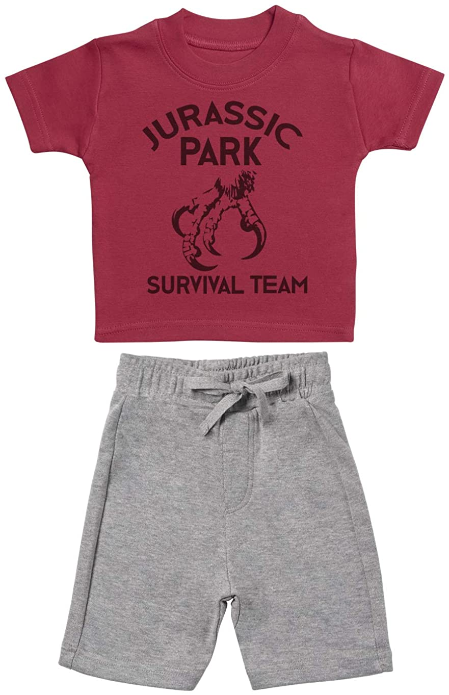 Survival Team Baby Outfit Set, Baby T-Shirt with Grey Baby Shorts - 3-4 Years Red
