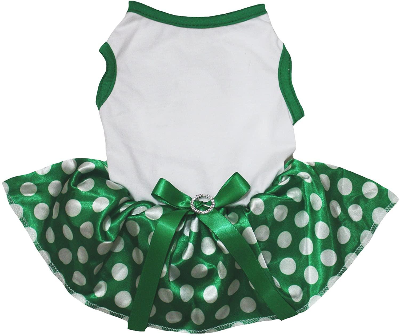 Petitebella White Shirt Green Polka Dots Tutu Puppy Dog Dress