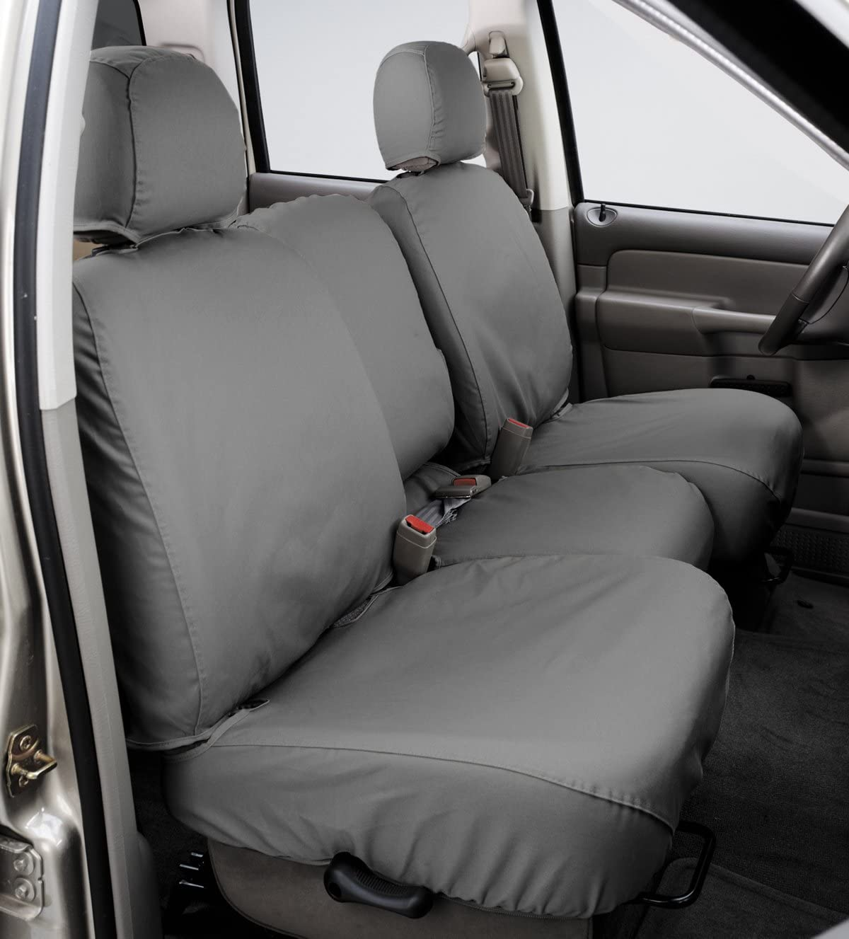 Covercraft SeatSaver Front Row Custom Fit Seat Cover for Select Dodge Ram Pickup Models - Polycotton (Grey)