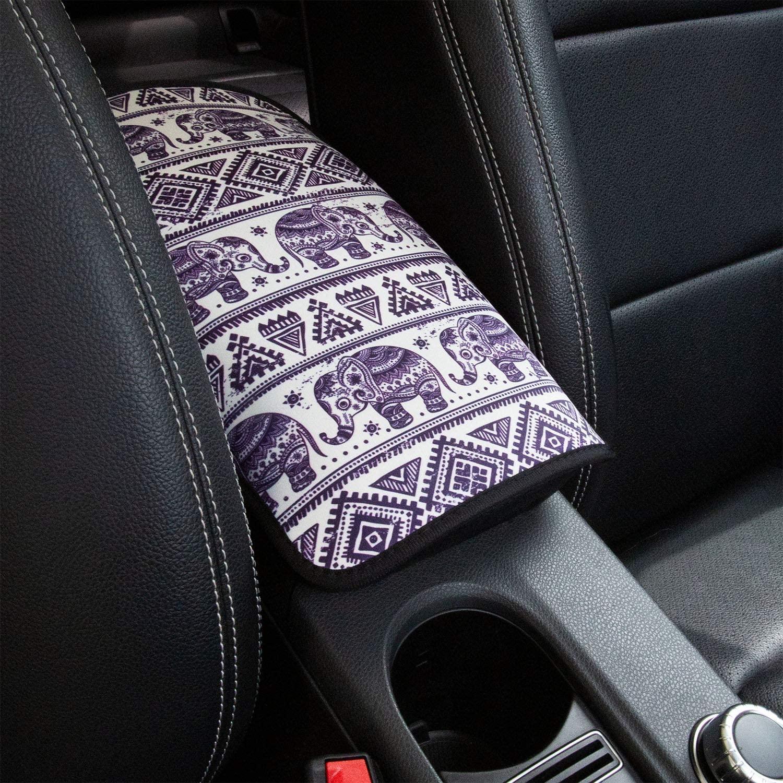 YR Vehicle Center Console Armrest Cover Pad, Universal Fit Soft Comfort Center Console Armrest Cushion for Car, Stylish Pattern Design Car Armrest Cover, Elephant