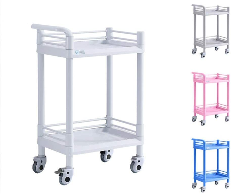 CSS Trolley-Rolling Storage Cart 2 Tiers Utility Mobile Organization Cart with Handles Suitable for Office Home Kitchen Hospital Clinic or Outdoor,Small