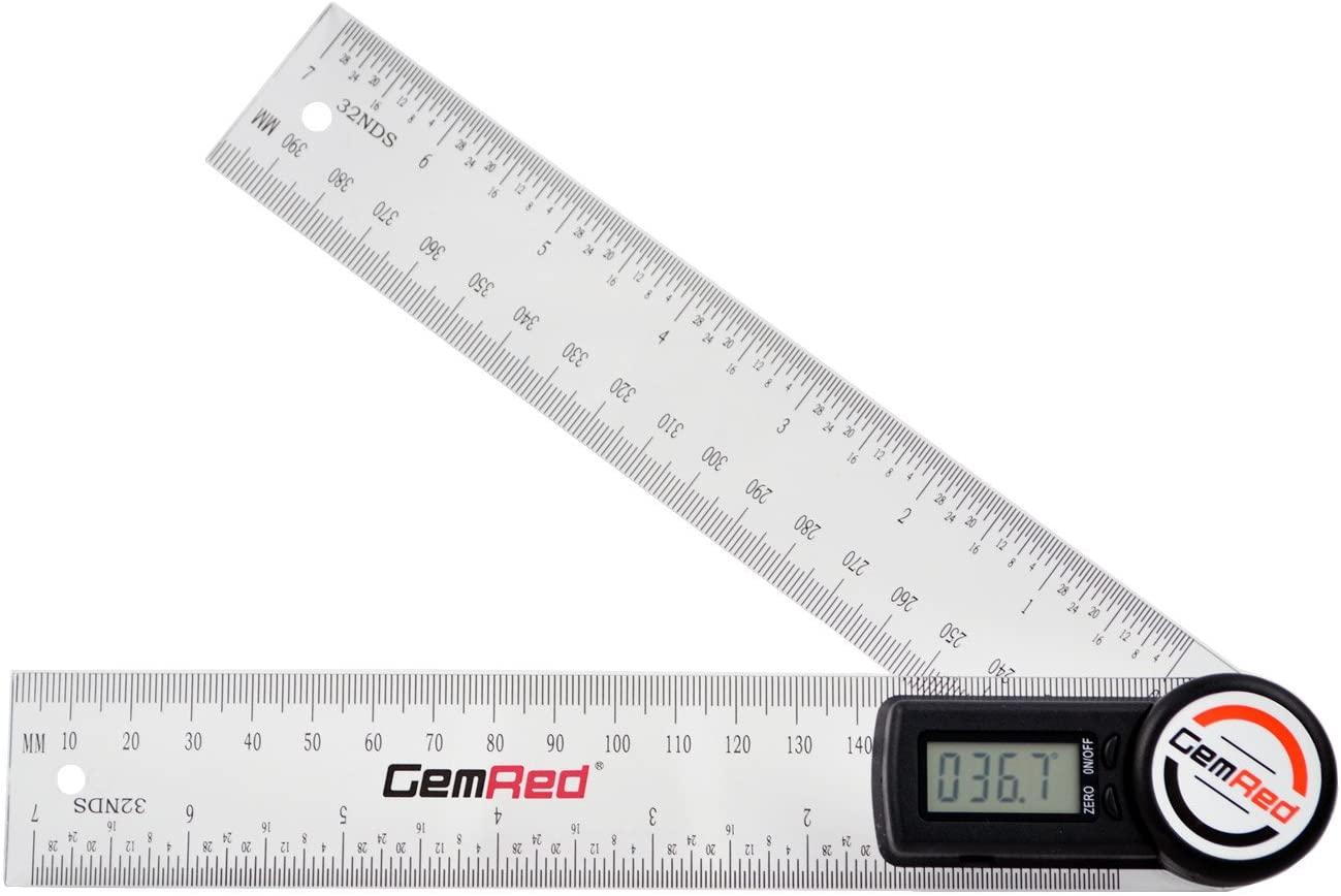 GemRed Digital Angle Finder Protractor (Plastic, 7inch/200mm)