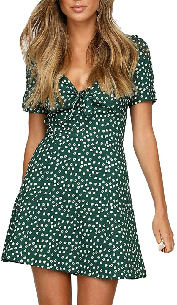 Adeliber Women's Summer Mini Dress V-Neck Short Sleeve Bodycon Beach Party Dot Beach Dress