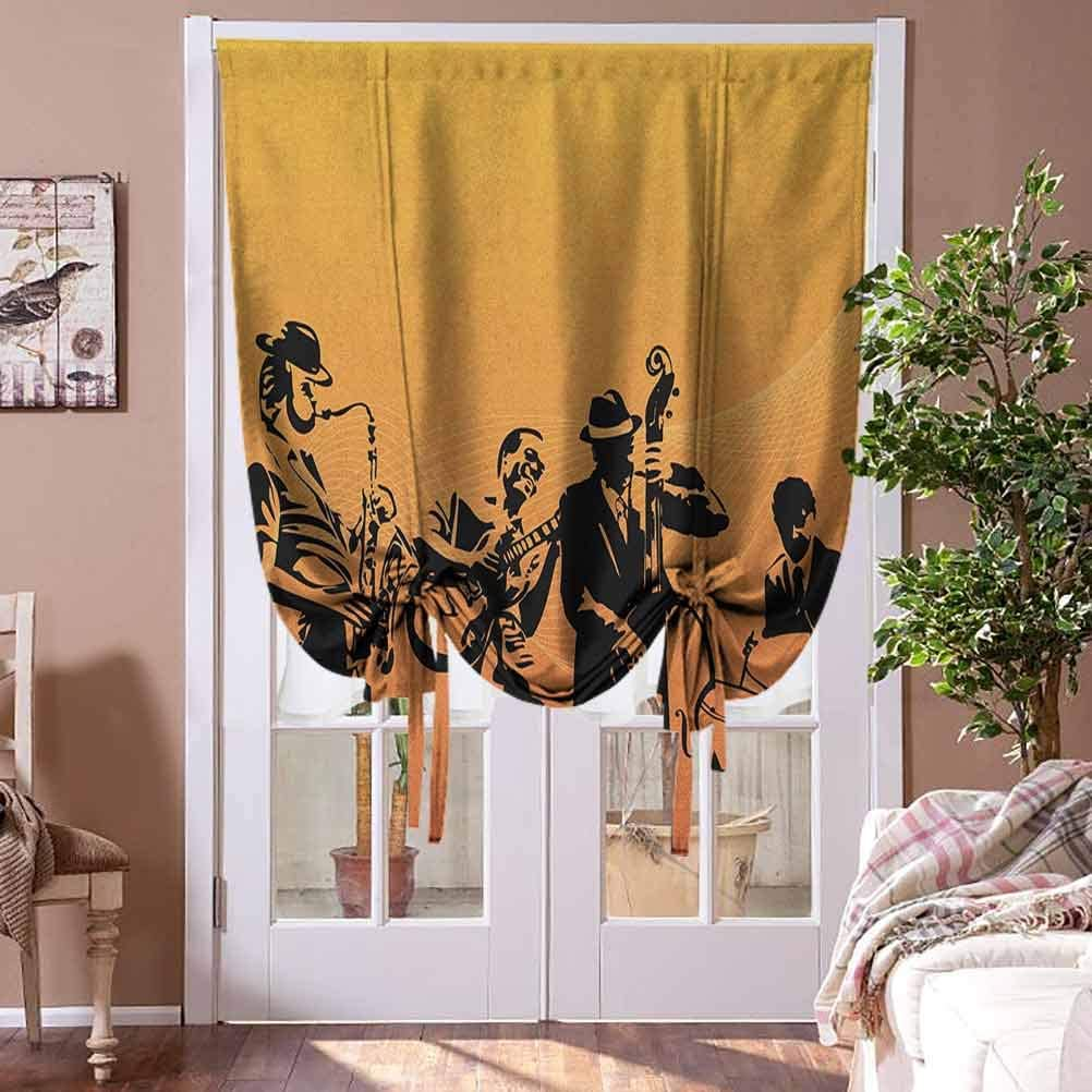 Roman Shades Blinds Jazz Music Shades Window Treatment Silhouette of Jazz Quartet Performing on Stage Acoustic Passion Old Style Art for Kitchen Bedroom Bathroom Windows Rod Pocket Panel, 39