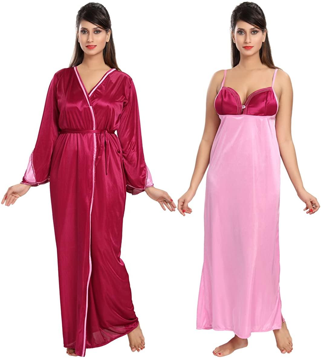 Be You Fashion Women Satin Maroon Solid 2 piece Nighty Set