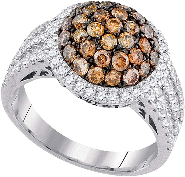 Dazzlingrock Collection 2.07 Carat (ctw) 10K White Gold Round Brown Diamond Cluster Ring 2 Ctw, 10K White Gold