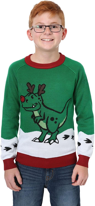 Boys Reindeer Dinosaur Ugly Christmas Sweater X-Large