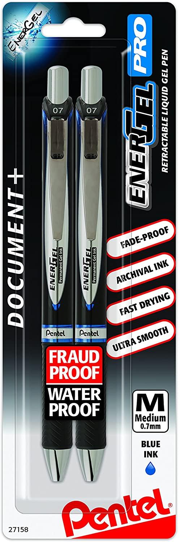 Pentel EnerGel Pro Permanent Gel Ink Pen, (0.7mm) Medium Point, Blue Ink, 2-Pk (BLP77BP2C)