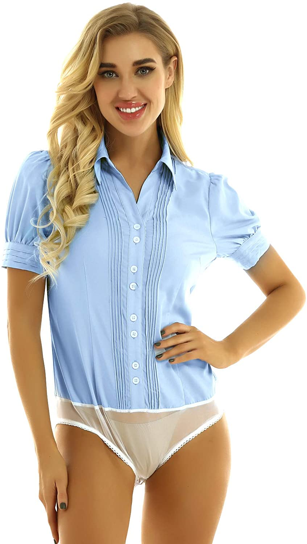 MSemis Woman One-Piece Short Sleeve Button Down Shirts Bodysuit Leotard Business Work Office Top