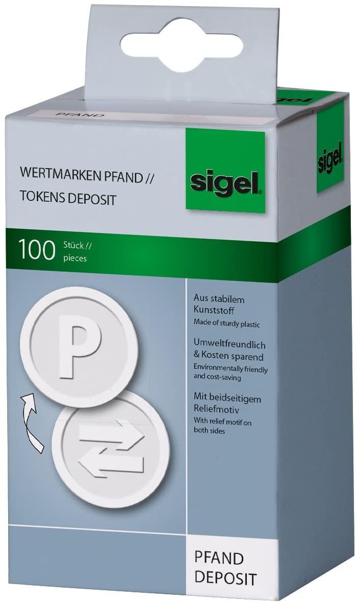 Sigel WM010 Tokens Deposit, White, Ø 0.98 inch, 100 pcs.