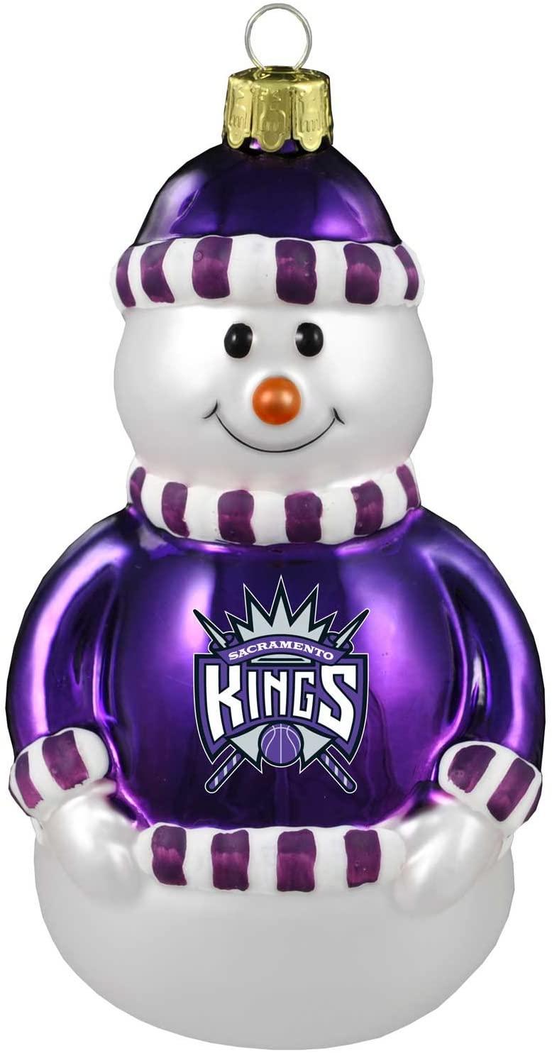 NBA Sacramento Kings Blown Glass Snowman Ornament