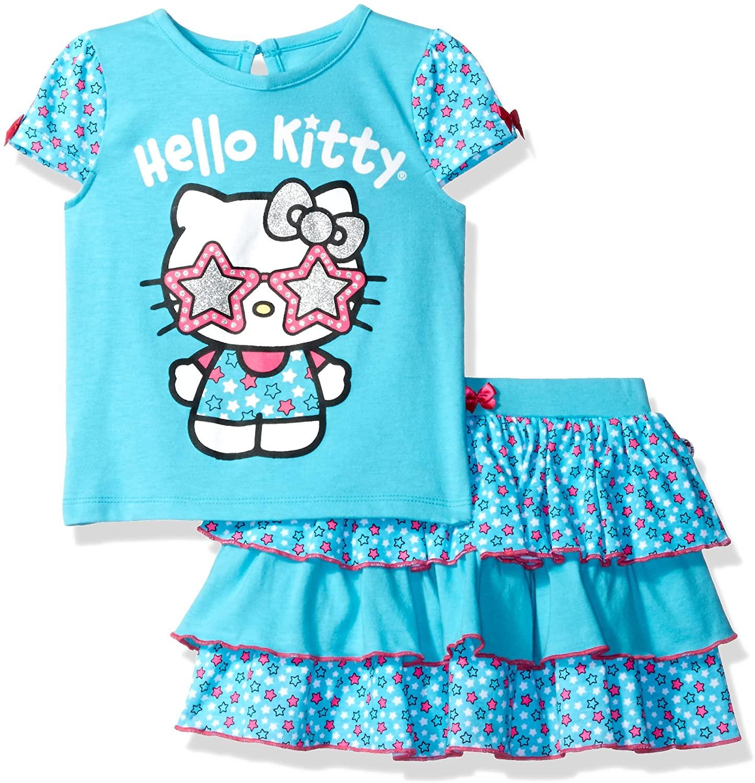 Hello Kitty Baby Girls' Toddler 2 Pc Skirt Set, Capri, 3T