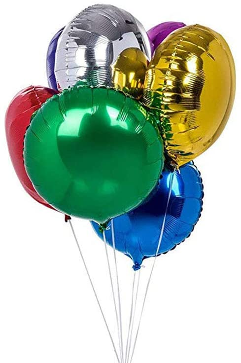 AnnoDeel 20pcs 18 inch Round Balloons, Round Shaped Foil Helium Balloons Mixed Color Mylar Balloons for Wedding Birthday Baby Shower Party Decor