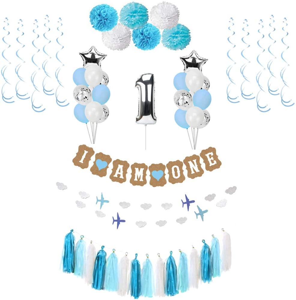 1st Birthday Boy Decorations,Birthday Decorations for baby,Birthday Gifts,Latex Balloons in blue and white,Metallic Balloons,Confetti Balloons,Hanging Swirls,Pompoms,Tassel Garland and i am one Banner