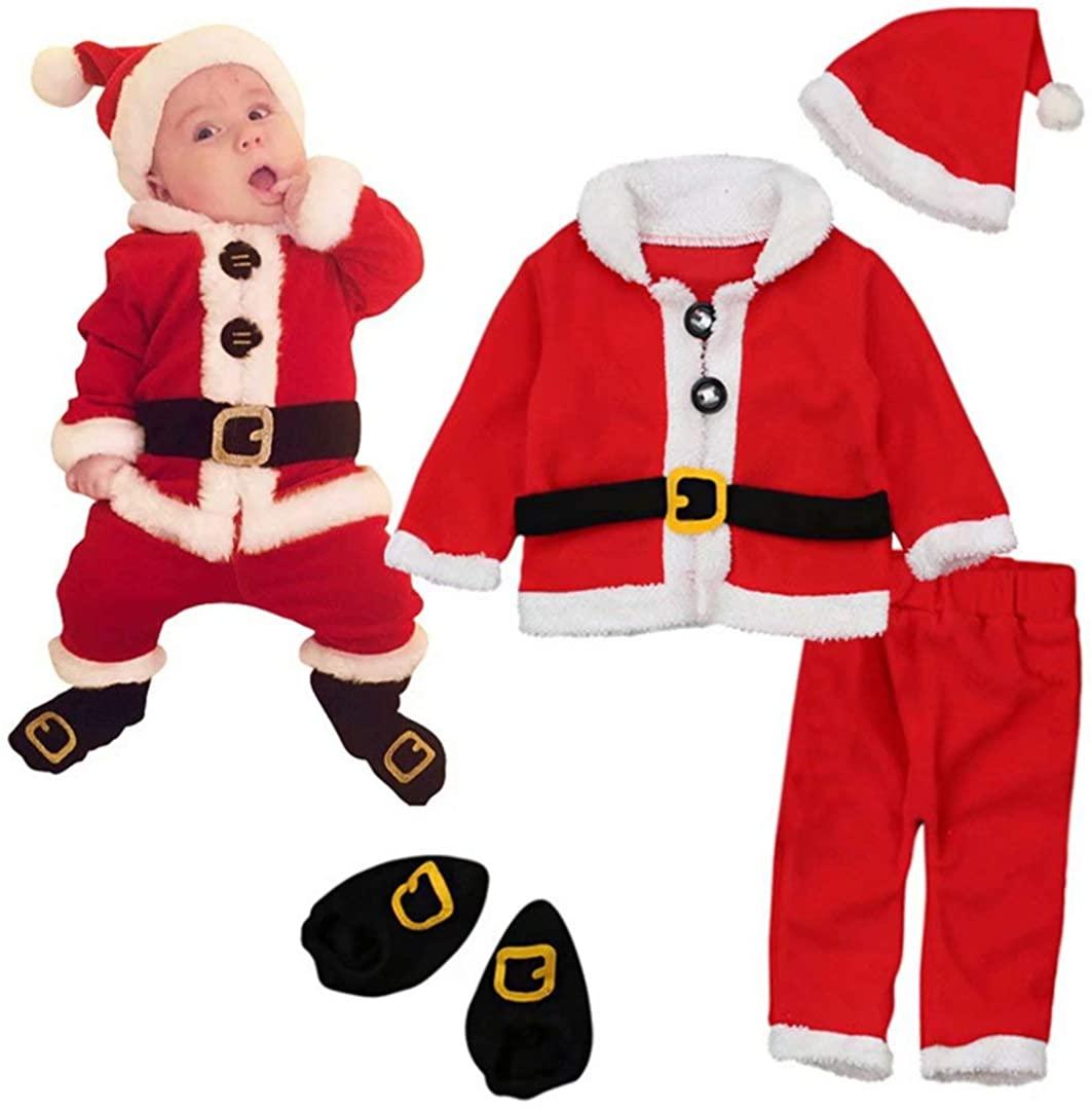 Baby girls' Boys' Christmas Santa Costume 4 pcs Velvet Santa Clothes