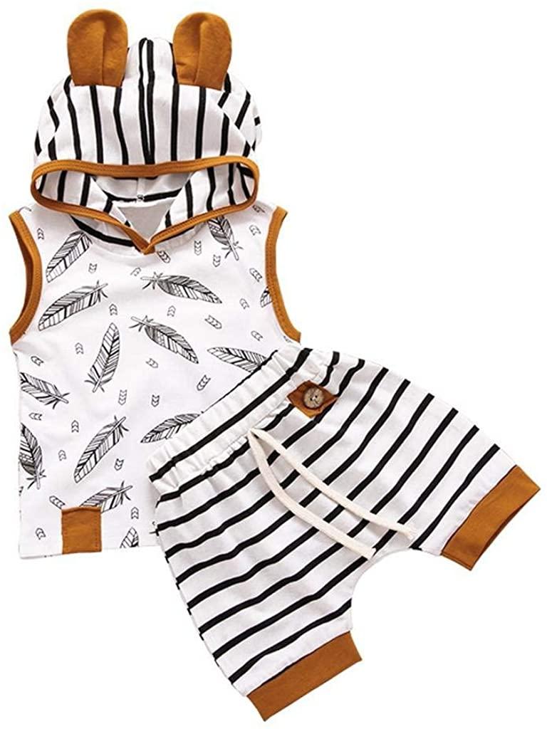 terbklf Newborn Baby Boys&Girls Elegant Feather Printed Sleeveless T Shirt Tops Striped Pants Clothes Unisex Outfits Set