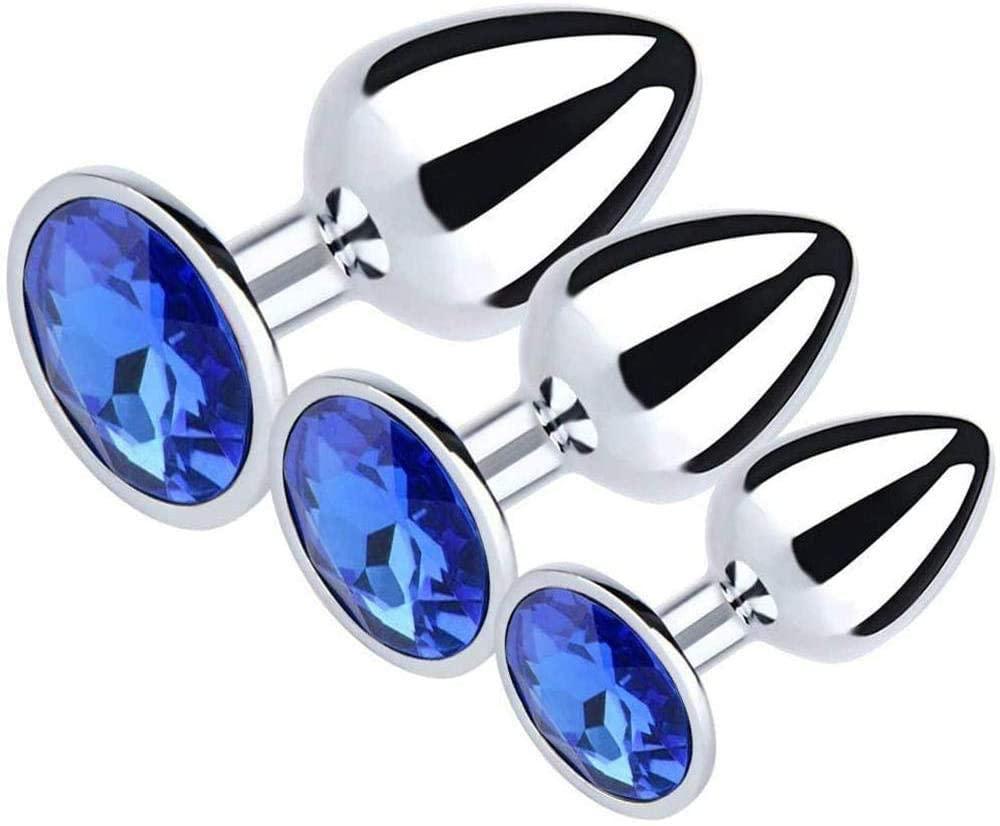 Yistyle Sexy Toys for Adults Couples Amal Plug Training Kit 3PCS kit Metal Buttpluģ Set Heart-Shaped Crystal Jewelry Àmàl Plug for Women Men Beginner (Black)