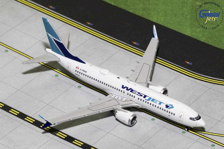 GeminiJets GJWJA1823 Westjet B737 Max 8 C-Frax 1: 400 Scale Diecast Model Airplane, Green