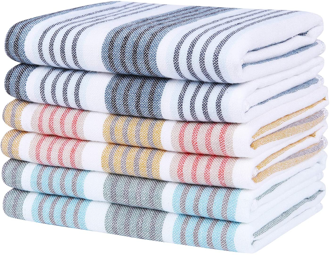 Homaxy 100% Natural Cotton Terry Kitchen Dish Cloths, 12 x 12 inch Ultra Absorbent Drying Dish Towels, Stripe Plaid Dish Rags - Great for Household Cooking Cleaning, 6pc/Set, Mix Color