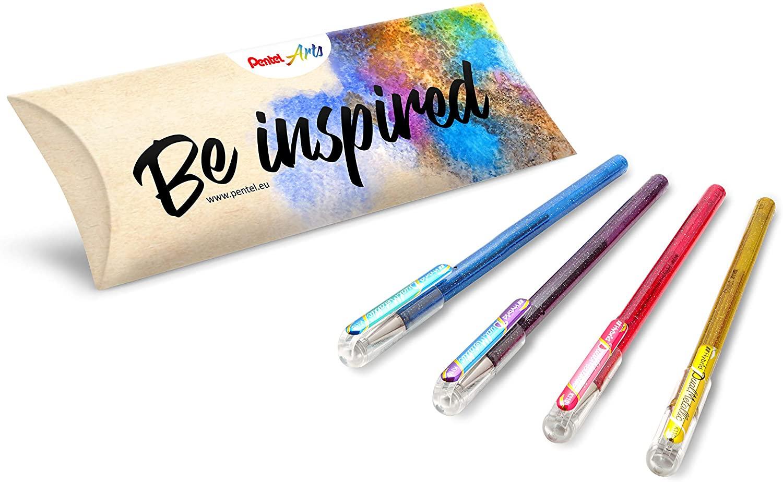 Pentel Arts Hybrid Dual Metallic K110, Metallic Gel Ink Rollerball Pen, Set of 4 Assorted Colours (Blue + Metallic Green, Purple + Metallic Blue, Pink + Metallic Pink and Gold)
