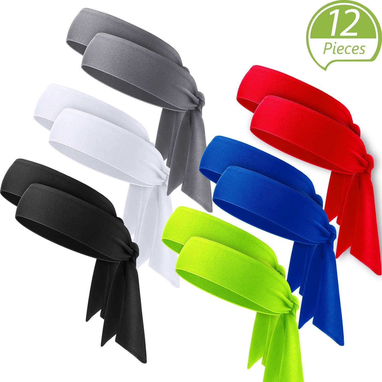 WILLBOND 12 Pieces Tennis Tie Headband Hair Band Unisex Dry Head Tie Sport Tie Back Headband for Basketball, Running, Tennis, Karate, Athletics