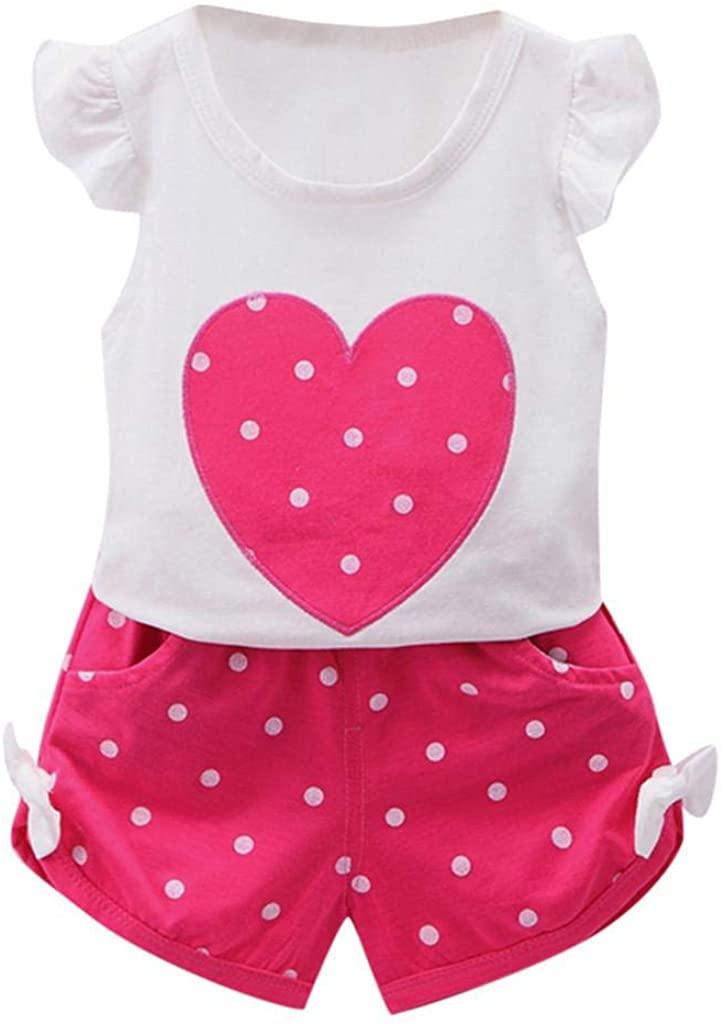 terbklf Toddler Kid Baby Girls Fly Sleeve Ruffles Cute Love Heart Dot Print Top Bowknot Short Pant Outfits Set