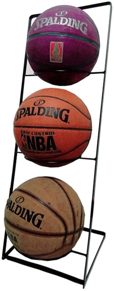 Monkibag-sp Rolling Sports Ball Storage Cart Shelf Storage Rack Basketball Rack Soccer Rack Home Indoor Rack (Color : Black, Size : 30x26x75cm)