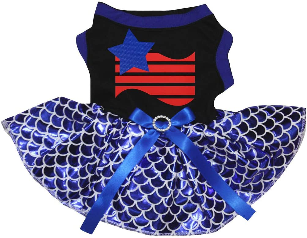 Petitebella America Theme Black Shirt Bling Blue Mermaid Tutu Puppy Dog Dress (Star Striped Flag, X-Small)