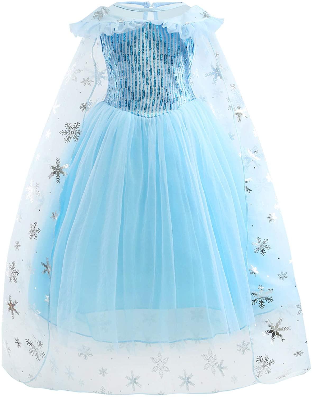 COSKING Deluxe Girls Princess Cosplay Dress with Cloak Halloween Elsa Costume C-Design