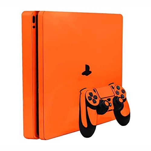 Citrus Orange Vinyl Decal Faceplate Mod Skin Kit for Sony PlayStation 4 Slim (PS4S) Console by System Skins