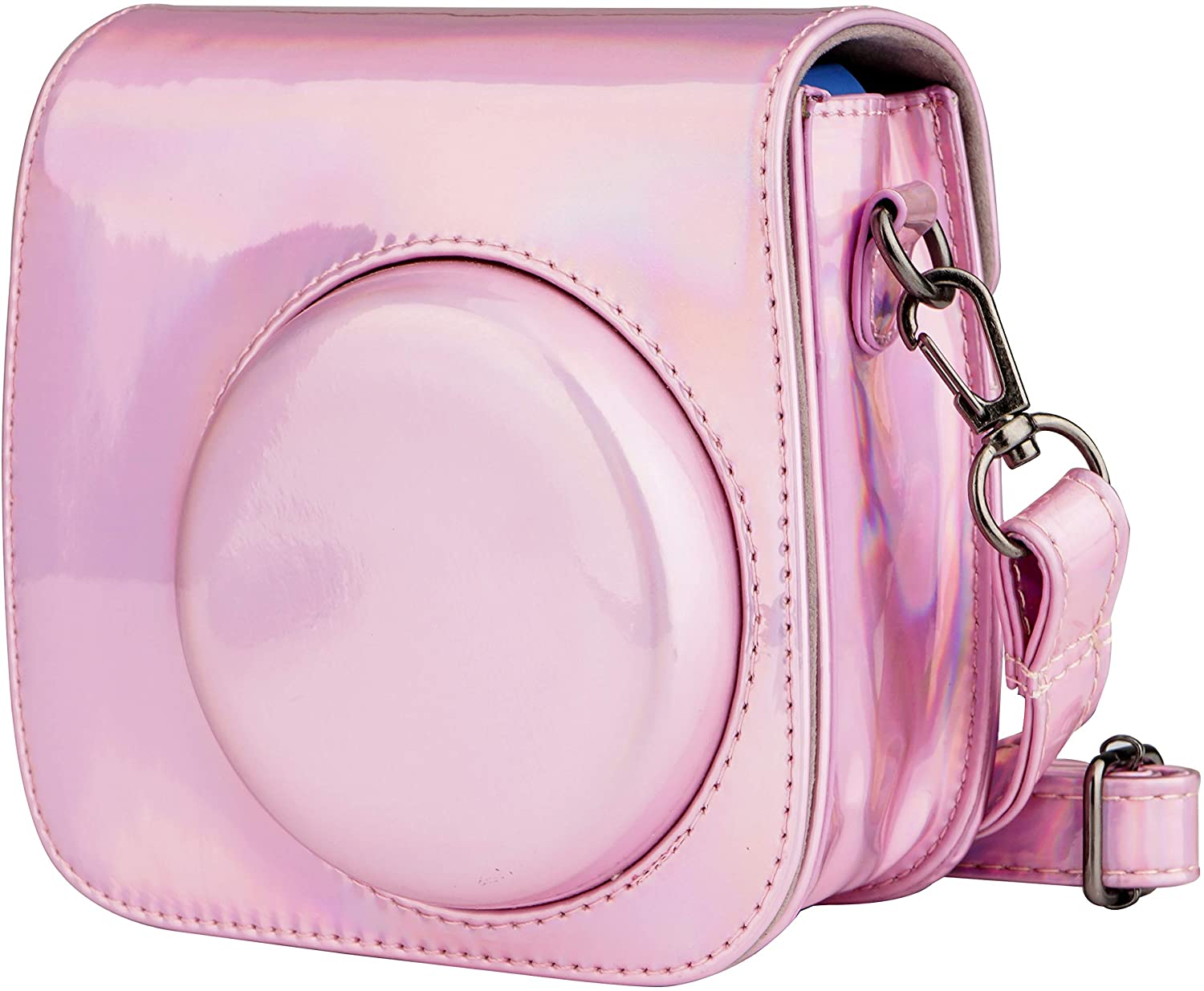 Blummy PU Leather Camera Case Compatible with Fujifilm Instax Mini 11/ Mini 9/ Mini 8 Instant Camera with Adjustable Strap and Pocket (Pink Laser)