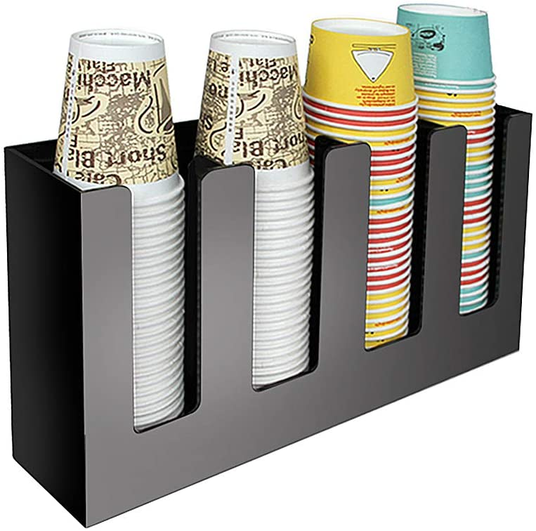 KayJery 4 Compartments Countertop Coffee Condiment Paper Cup Organizer, Acrylic and Iron Material, Balck,Acrylic