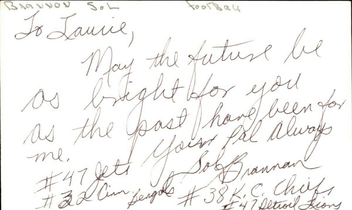 Sol Brannon Signed Index Card 3x5 Autographed Chiefs Lions 64020