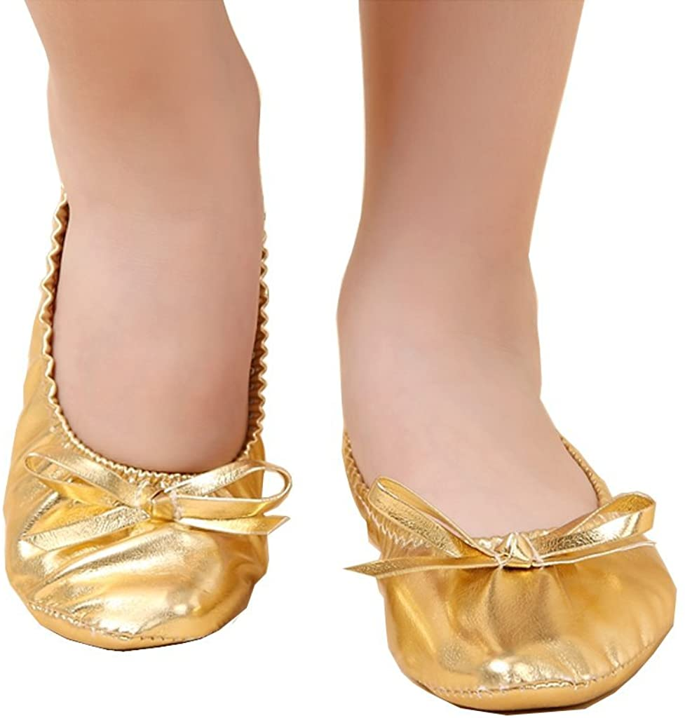 Pilot-trade Girls Kids Children's Belly Dance Shoes Gold Imitation Leather Shoes Gold