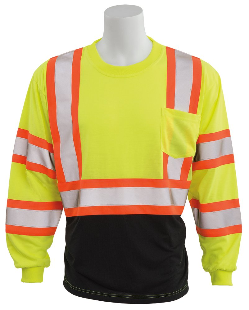 ERB Safety Products 63614 ERB 9804SBC HVL Long Sleeve Contrasting Trim, Class 3, Medium, Yellow
