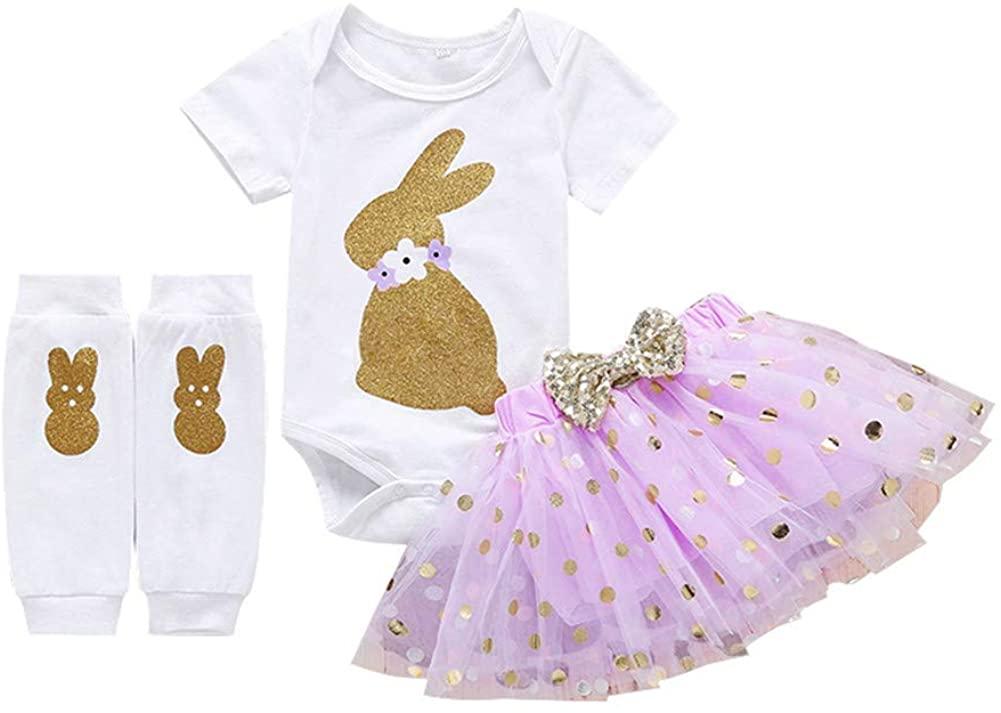 Infant Baby Girl Easter Outfits Bunny Short Sleeve Romper Bodysuit Polka Dot Tutu Skirts Leg Warmers Rabbit Clothes Set
