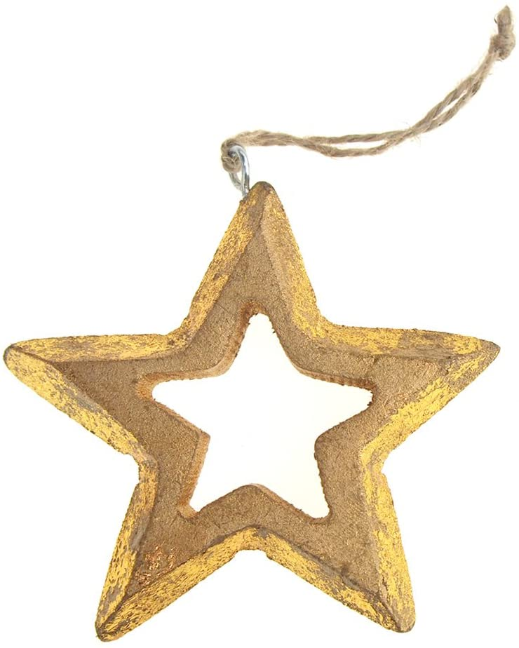 Homeford Hanging Wooden Distressed Star Cut-Out Christmas Ornament, 4-Inch (Gold)