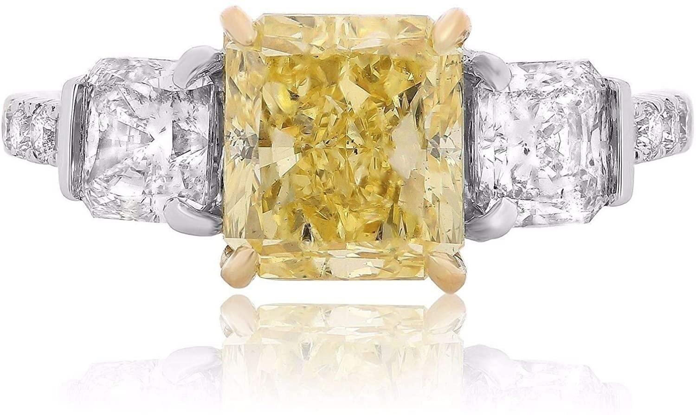 GIA CERTIFIED 3.98CT WHITE & FANCY YELLOW DIAMOND 18K 2TONE GOLD ENGAGEMENT RING
