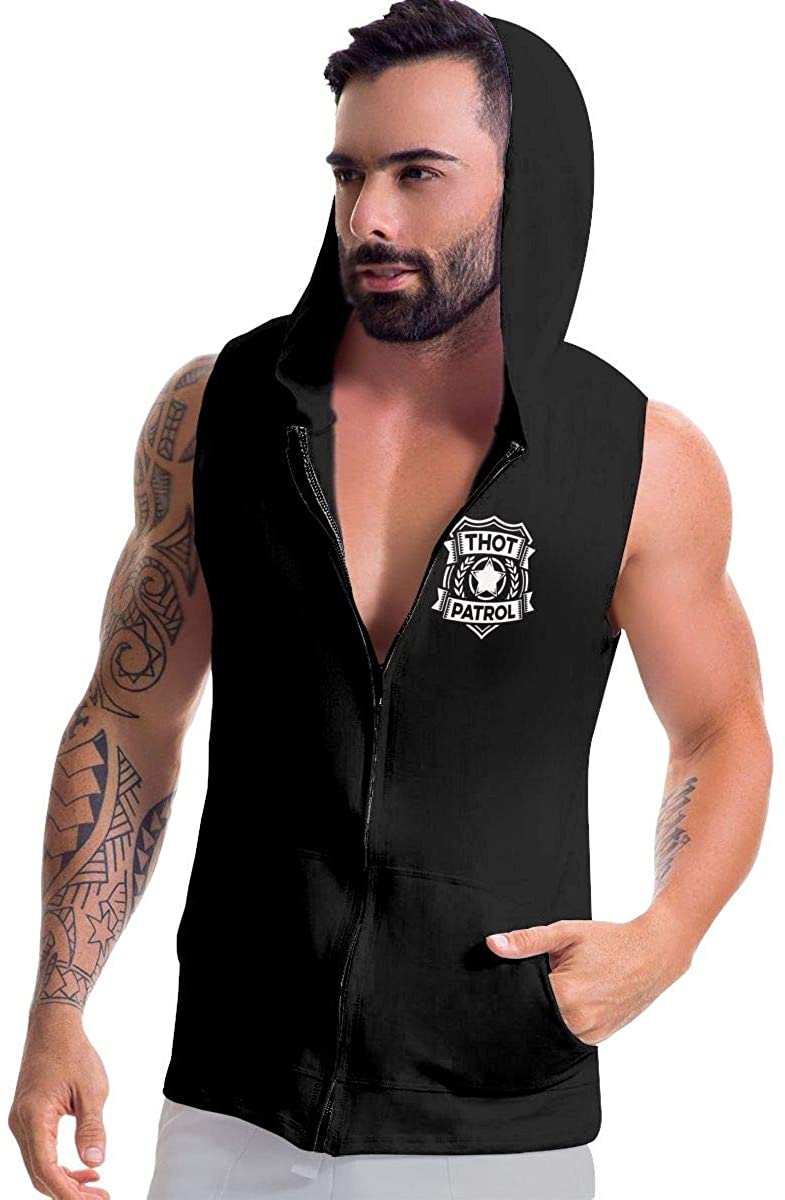 Thot Patrol is On The Case Man's Zip-Up Fleeces Sleeveless Hoodie Sweater