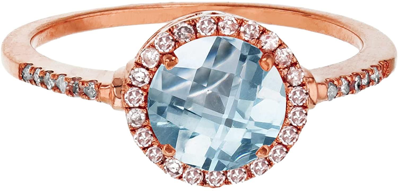 10K Rose Gold 7mm Round Aquamarine & 0.18 CTTW Diamond Halo Ring