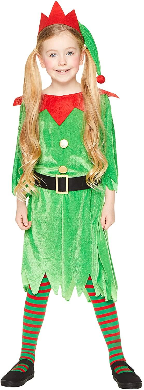 Christmas Elf Girl Costume - Kids Holiday North Pole Santa Helper Cosplay, L