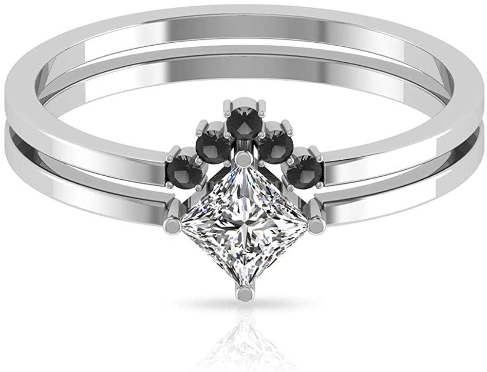 0.47 CT Solitaire Princess Cut Certified Diamond Engagement Ring, Vintage V Shape Black Diamond Wedding Bridal Ring Set, Chevron Stacking Promise Ring, 14K Gold