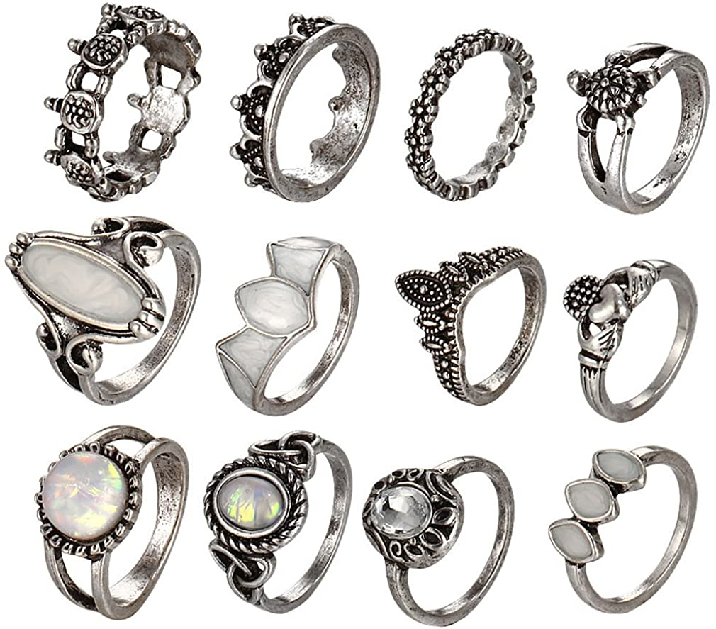 YAZILIND Sterling Silver Gemstone Turtle Princess Heart Flower Carved Boho Vintage Women Joint Knuckle Rings Sets Finger Ring