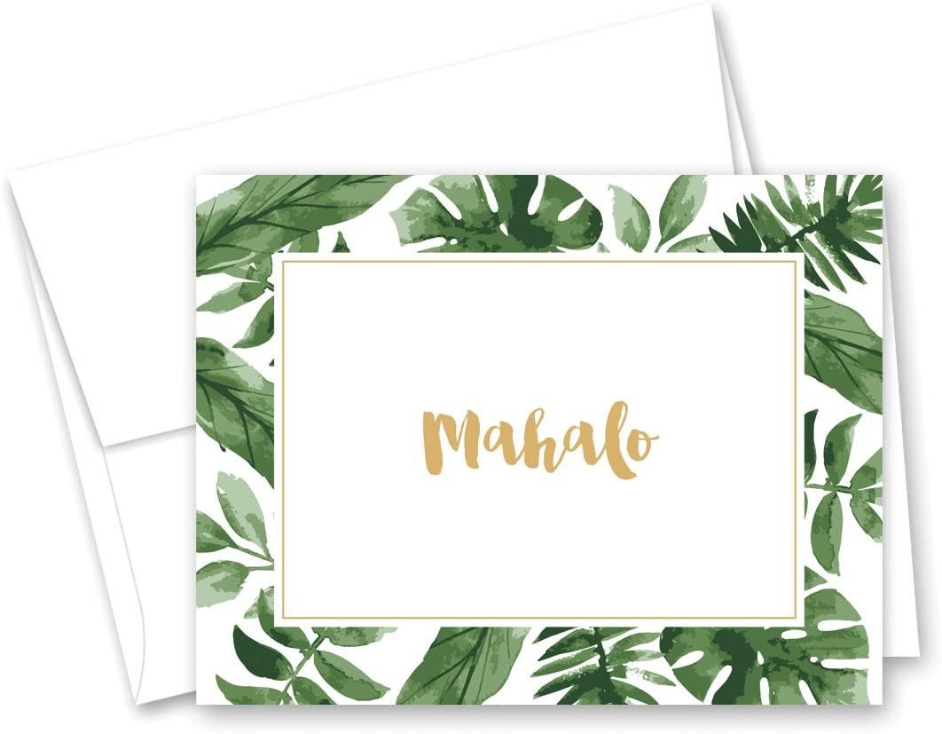 50 cnt Watercolor Palm Leaves Hawaiian Mahalo Thank You Cards