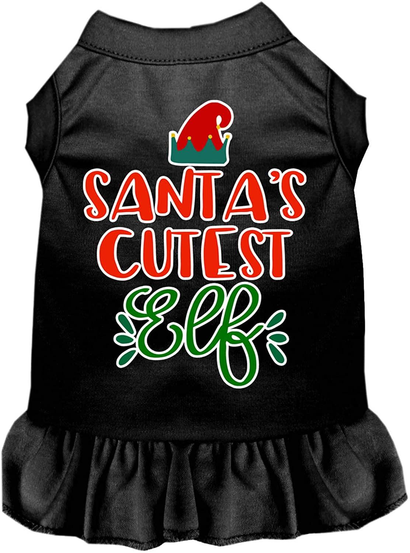 Mirage Pet Product Santas Cutest Elf Screen Print Dog Dress Black Sm