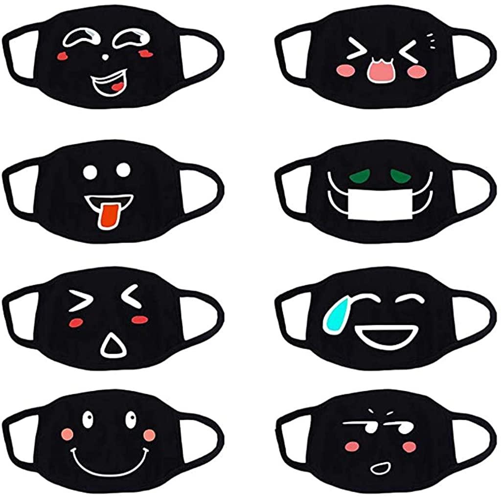 JSPOYOU Unisex Mouth Reuse White Cute Anime Anti Dust Kawaii Muffle Face