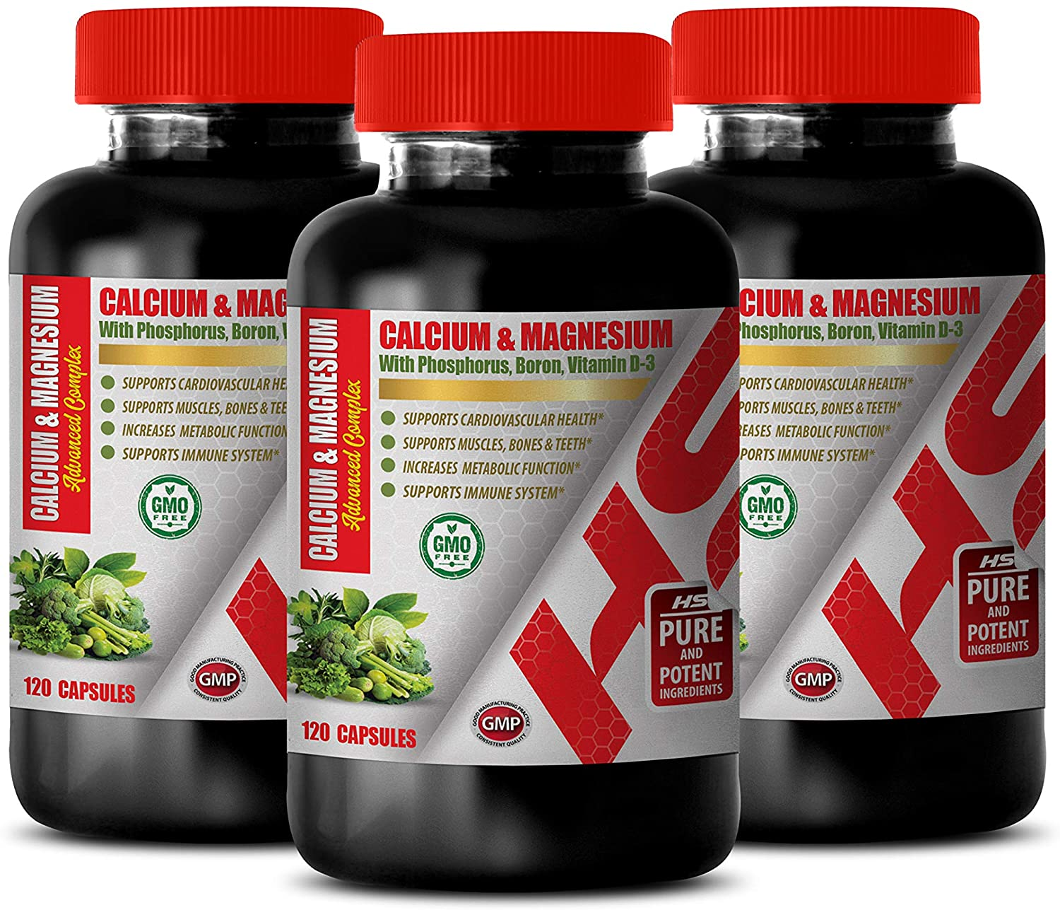 Boron for Women - Calcium & Magnesium - Bone Health for Women - Vitamin d Immune Support - 3 Bottles 360 Capsules