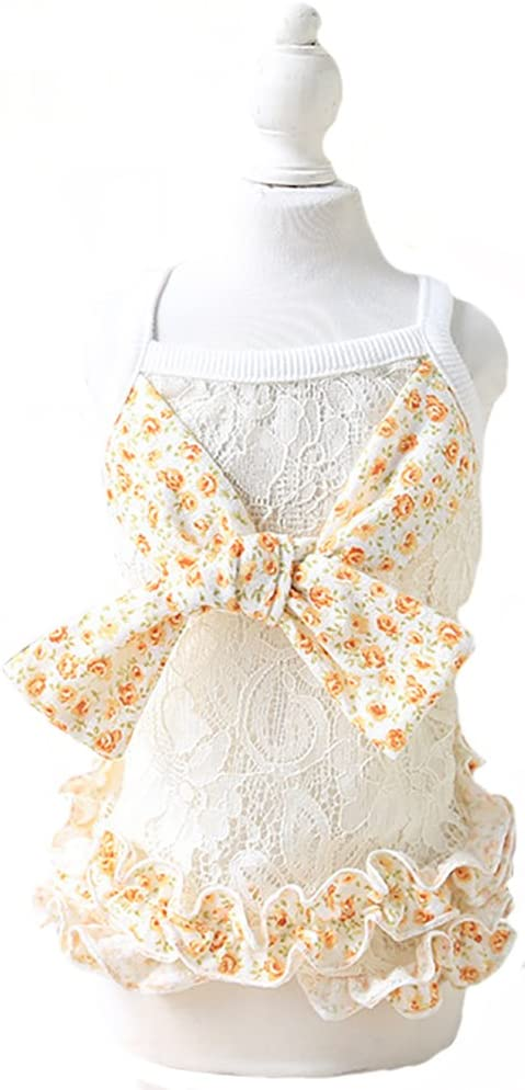 MaruPet Summer Cute Puppy Doggie Country Style Floral Over-All Lace Dress with Bowknit for Small, Extra Small DogTeddy, Pug, Chihuahua, Shih Tzu, Yorkshire Terriers