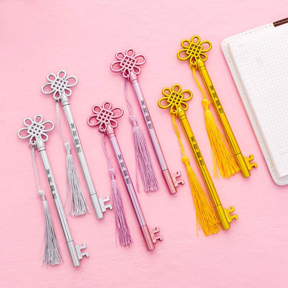 MoO1deer Gel Pens, Medium Point (0.5mm), Creative Tassel Pendant Ink Gel Pen Writing Marker Student Office Stationery Rose Gold
